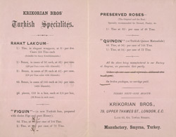 Advert For Krikorian Brothers, Turkish Specialists reverse